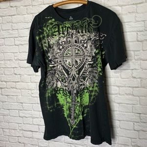 Archaic Black Tee Shirt Graphics Both Sides Size L
